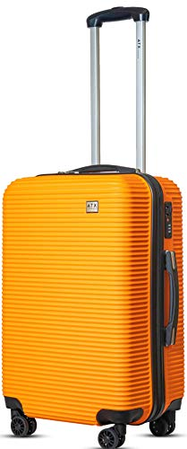 """24""""/64cm Medium Super Lightweight Durable ABS Hard Shell Hold Luggage Suitcases Travel Bags Trolley Case Hold Check in Luggage with 8 Wheels Built-in 3 Digit Combination Lock (24' Medium, Orange 119)"""