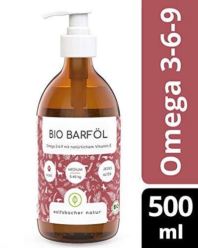 Bio Barf-Öl für Hunde und Katzen (500ml), mit Vitamin E aus 6 verschiedenen Ölen, kaltgepresst aus kontrolliert biologischem Anbau, Hochdosiertes Omega 3 6 9 Öl, DE-ÖKO-060