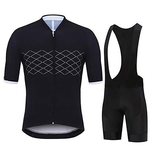 Conjunto De Jersey De Ciclismo para Hombre con Camiseta De Bicicleta De Manga Corta con Cremallera Completa y Pantalones Cortos Acolchados De Gel 9D para Ropa Deportiva Al Aire Libre