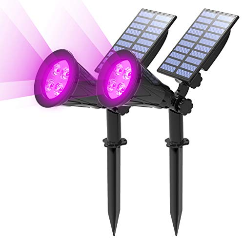 T-SUN [2 Pack] LED Solar Spotlights, Waterproof Outdoor Security Landscape Lamps, Auto-on/Auto-Off by Day, 180 Angle Adjustable for Tree, Patio, Yard, Garden, Driveway, Stairs, Pool Area(Purple)