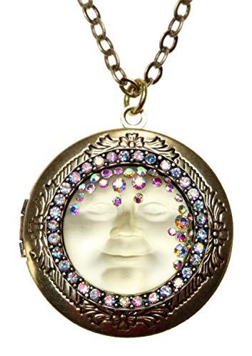 Kirks Folly Love Never Dies Goddess Seaview Moon Locket Necklace antique goldtone / jonquil