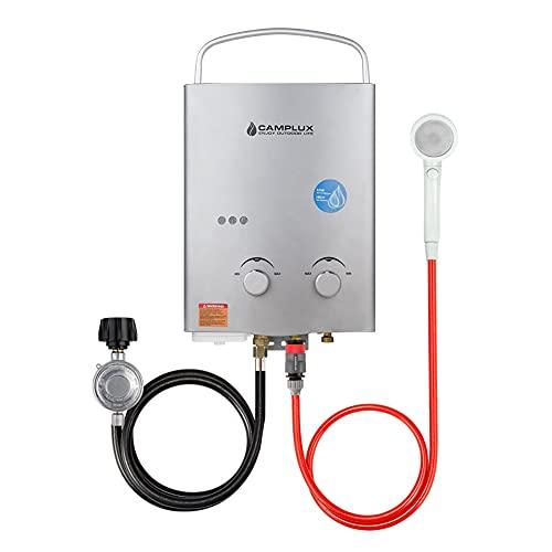 Camplux - Calefactor de agua de gas portátil sin tanque de 5 l, 1,32 GPM, protección contra sobrecalentamiento, calentador de agua propano al aire libre para viajes de camping, color gris