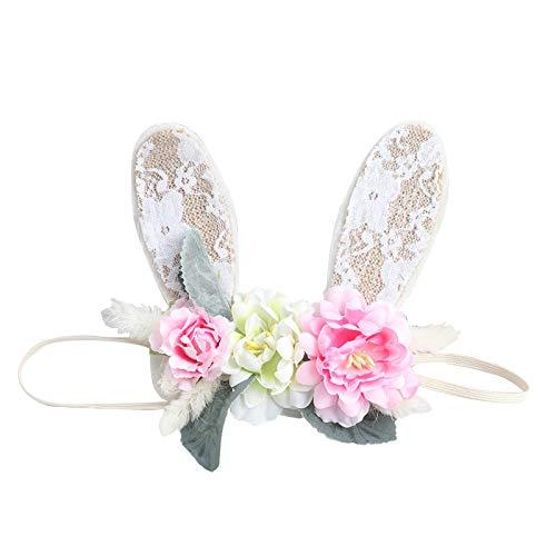 Diadema para bebé, para niños pequeños, diseño de conejito de flores, accesorio para la cabeza de la playa, para festivales, cumpleaños, día de Pascua
