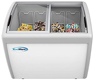 KoolMore Commercial Ice Cream Freezer Display Case, Glass Top Chest Freezer with 4 Storage Baskets and Clear, Sliding Lid, Large 12 cu. ft. Capacity
