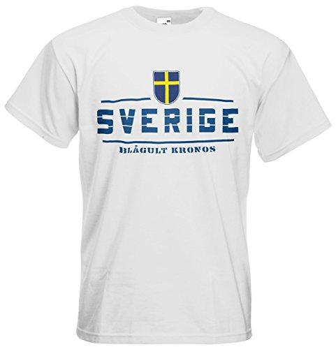 Schweden Sverige T-Shirt Fanshirt Nation EM-2021 Weiß M