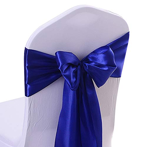 50PCS 17X275CM Satin Chair Bow Sash Wedding Reception Banquet Decoration #15 Royal Blue