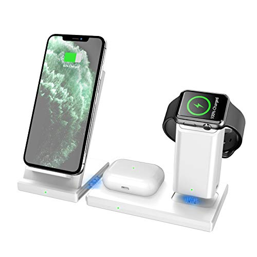 Price comparison product image Wireless Charger MANKIW 3 in 1 Fast Charging Station for Apple iWatch AirPods Pro,  Wireless Charging Stand Compatible for iPhone 11 / 11Pro / 11Pro Max / XR / Xs / Xs Max / X / 8 / 8Plus Samsung Galaxy(White)