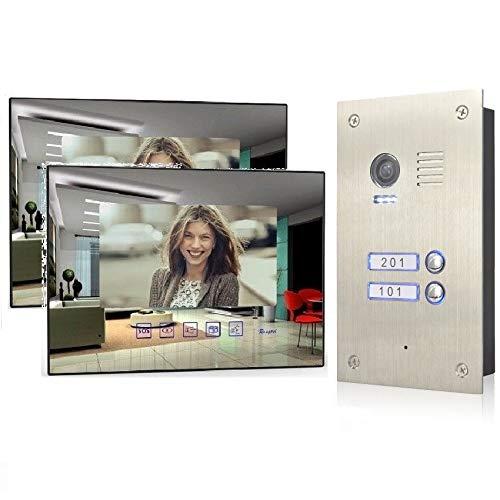 2 Familienhaus 4 Draht Video Türsprechanlage Gegensprechanlage Edelstahl Außenstation, Monitor Glas, Größe: 2x7'' Monitor Spiegel