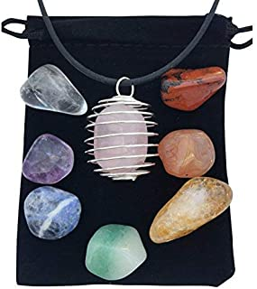 Spiritual Stones and Healing Crystals - 7 Chakra Stone Set with Rose Quartz and Cage Necklace- Infused with Reiki Energy -...