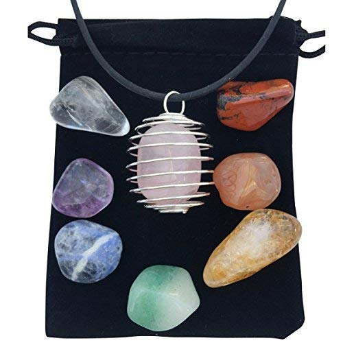 Zangrala Healing Crystals and Stones - 7 Chakra Stone Set with Rose Quartz and Cage Necklace Charged with Reiki Energy - Carry a Spiritual Stone with You and Raise Your Vibrational Frequency