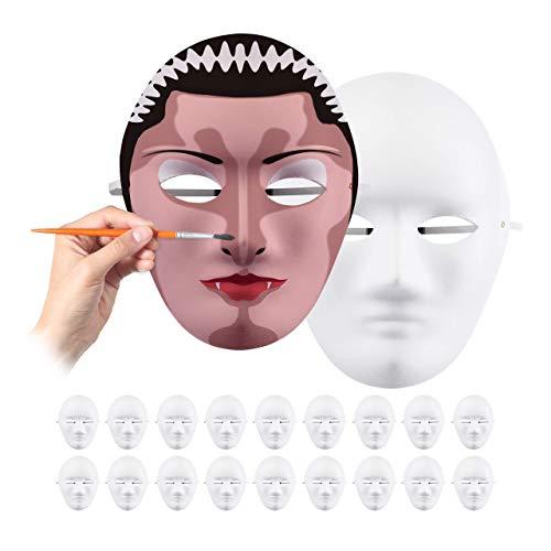 Relaxdays Maske im 20er Set, zum Bemalen und Basteln, Karneval, Fasching, Pappmaske Gesicht HxBxT 24 x 18,5 x 8 cm, weiß