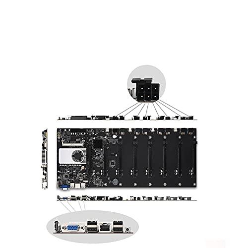 Soolike BTC-37 Mining Machine Motherboard,Placa Base para Minería,Miner CPU Motherboard Set 8 Ranuras para Tarjetas gráficas Interfaz integrada Traje Negro.