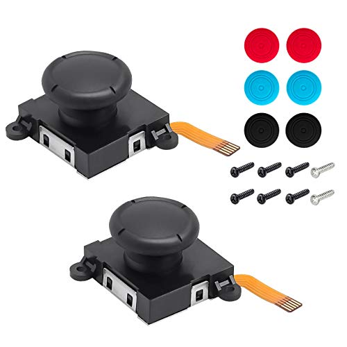 Ginkano 2 Pack Replacement Analog 3D Button Thumbstick Stick Joystick Rocker for Nintendo Switch NS Joy-Con Controller Joypad - 6 Extra Thumbstick Caps (2 Pack)