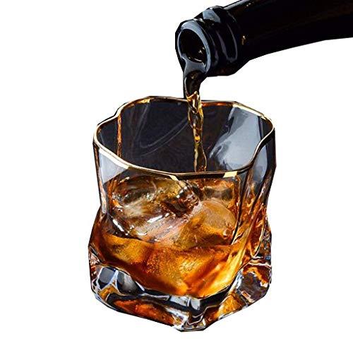Mnjin Feines Whiskyglas Haushalt Hitzebeständiges Weinglas Persönlichkeit Kreative Zeichnung Gold Weinglas Bierglas Wein Set 8.5