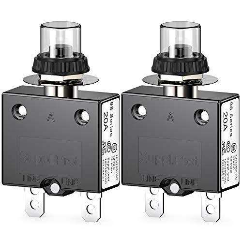 Clyxgs Thermischer Schutzschalter, 98 Serie 20A 125 / 250VAC Drucktasten-Reset für Schutzschalter mit Schnellanschlussklemmen und wasserdichter Tastenabdeckung 32VDC, 2 Stck