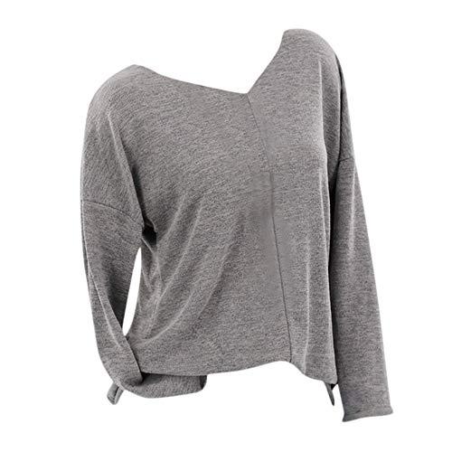 KaloryWee Heißer Pullover Top Bluse Damen mit V-Ausschnitt Loose Langarmshirt Lässige Strickkleidung Langarm T-Shirt S-5XL