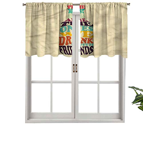 Hiiiman Cortinas opacas cortas, con bolsillo para barra, con texto en inglés en el interior de la lata de cerveza, juego de 2, 137 x 61 cm, cenefas pequeñas de media ventana para dormitorio