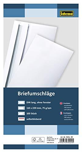 Idena 10224 - Briefumschläge DIN lang, 75 g/m², selbstklebend, ohne Fenster, FSC-Mix, weiß, 100 Stück