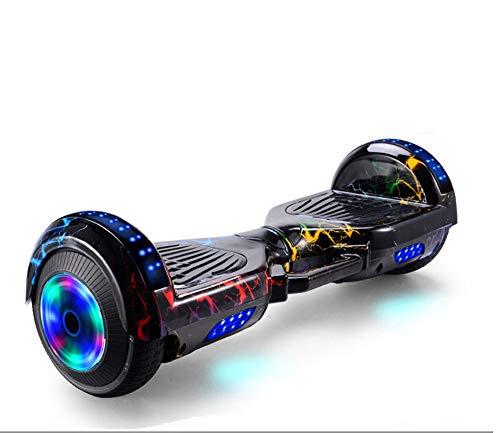 Scooter eléctrico inteligente de equilibrio automático con altavoz inalámbrico incorporado Polvo de camuflaje inteligente Bluetooth, Hoverboard para niños de 6 a 12 años,Colorful lightning,7 inches