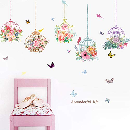 ☀ Dergo ☀ Birdcage Butterfly Flowers Background Wall Decoration Removable Wall Stickers