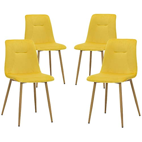 Teraves Esszimmerstühle, Samt, 4 Stück, weicher Sitz, Küchenstuhl mit stabilen Metallbeinen für Wohnzimmer, Büro, Lounge gelb