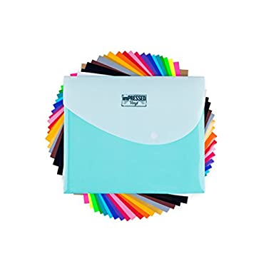 HTV Heat Transfer Vinyl: 20 Pack 12  x 10  Sheets for Iron On T-Shirts - 18 Assorted Colors- Black, Brown, White, Gold, Silver & Neon for Silhouette Cameo or Cricut- Heat Press Machine with Teflon