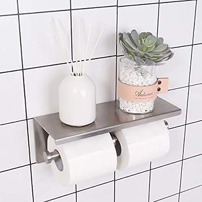 KES Dual Toilet Paper Holder RUSTPROOF Stainless Steel Bathroom Double Tissue Paper Towel Roll Holder Hanger Wall Mount Brushed Finish, KES-BPH201S2-2