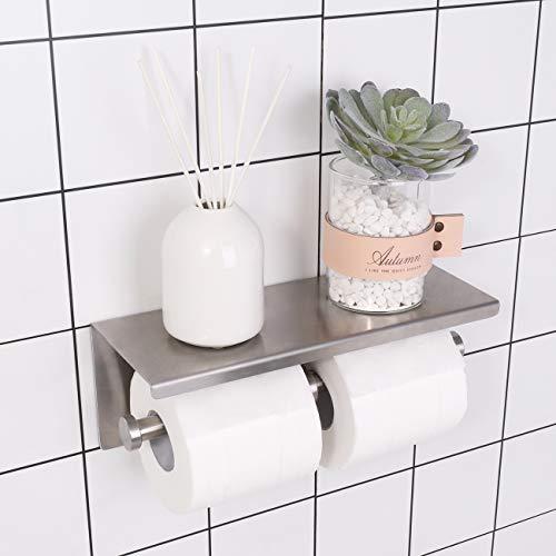 KES Doppel Toilettenpapierhalter Klopapierhalter Klorollenhalter SUS 304 Edestahl Badezimmer WC Rollenhalter mit Ablage Groß 28 CM Wandmontage Halterung Gebürstet, BPH201S2-2