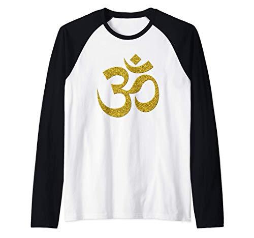 OM, Brahman, vintage, retro de oro símbolo de hinduismo Camiseta Manga Raglan