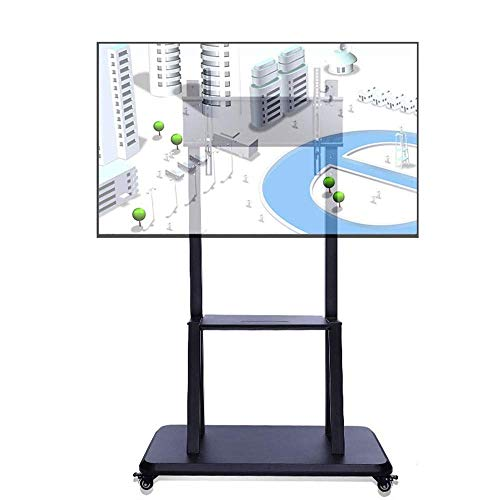 HXCD Soporte para TV de pie - Carrito para TV móvil con Ruedas, Base Resistente, Altura Ajustable para TV LCD de 50-75', Soporte de Pantalla, Negro