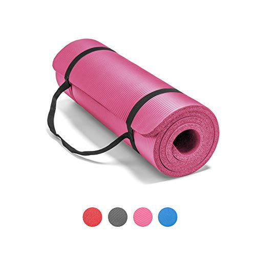 LOKATSE HOME All Purpose Thick Yoga Mat with Carrying Strap High Density Non-Slip Exercise Mat for Yoga and Pilates, 72 x 24 Inch, Pink