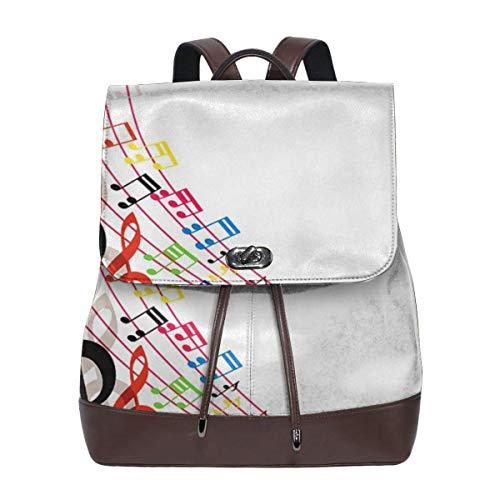 SGSKJ Rucksack Damen Musiknoten Musikalische Komposition, Leder Rucksack Damen 13 Inch Laptop Rucksack Frauen Leder Schultasche Casual Daypack Schulrucksäcke Tasche Schulranzen