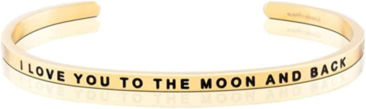 MantraBand Bracelet - I Love You to The Moon and Back - Inspirational Engraved Adjustable Mantra Band Cuff Bracelet - Silver, Gold, Rose Gold - Gifts for Women
