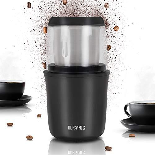 Duronic CG250 Kaffeemühle/elektrische Gewürzmühle - abnehmbarer Behälter – 75g Fassungsvermögen – 250W – Edelstahlklingen - Kaffee | Nüsse | Gewürze | Kräuter | Getreide | Trockenfrüchte