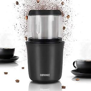 Duronic CG250 Molinillo de café eléctrico 250W y capacidad de 75g - Cuchilla de acero inoxidable para triturar semillas de café - Cappucinos, expreso, americano, café con leche frescos y caseros