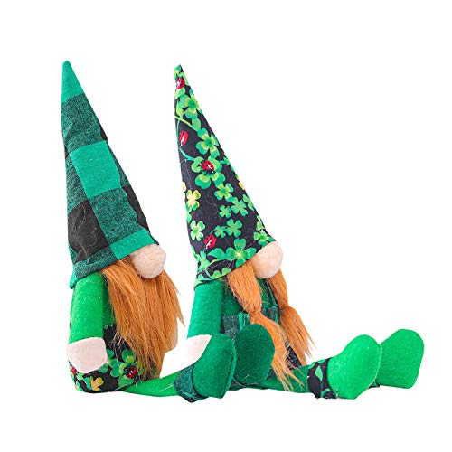 URSING 1/2pcs St Patrick's Day Plush Doll Gnome Gonk Faceless Doll Ornaments Dwarf Shamrock Decorations Faceless Old Man with Green Hat Sitting Desktop for Kids Toy Gift Home Party Decor