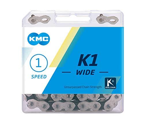 KMC K1 Wide Chain, Catena Unisex Adulto, Silver/Black, 1/2' x1/8'