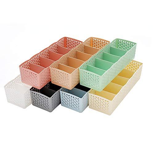 Meltset Schubladen-Organizer, Schrankteiler, Aufbewahrungsbox für BHS, Unterwäsche, Socken, Krawatten, Schals und anderes Zubehör, 7 Stück