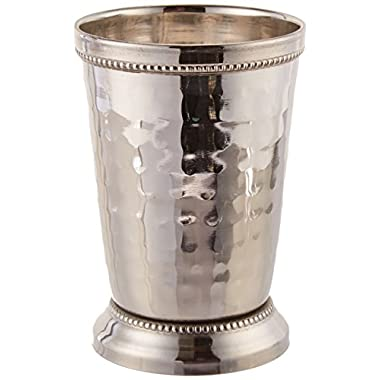 Elegance 12 oz Hammered Mint Julep Cup, Large, Silver