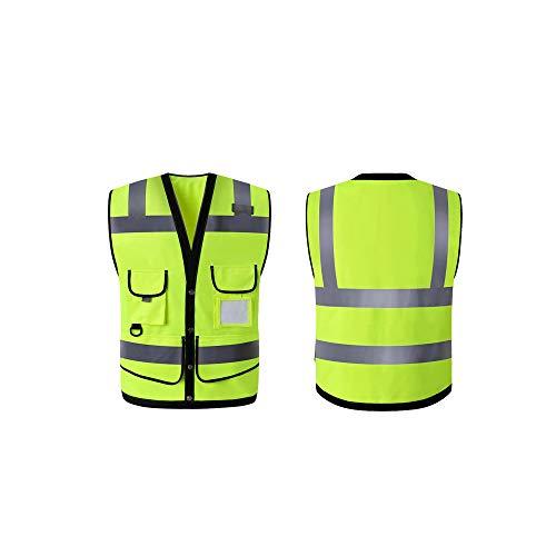 XXHDEE heren veiligheidsvest met knoppen, hoge zichtbaarheid met reflecterende strepen, fluorescerend groen