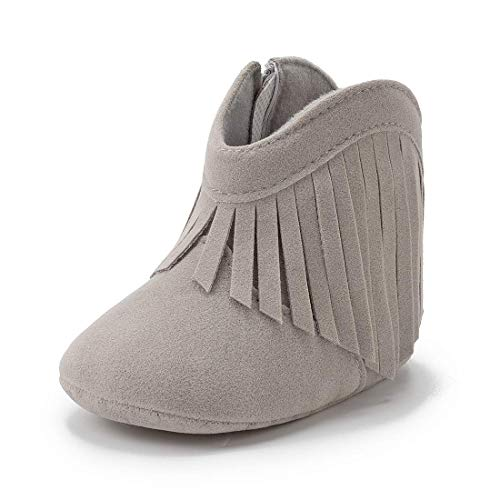 Sawimlgy Infant Baby Boys Girls Plush Winter Snow Boots Cowboy Tassels Bowknot Ankle Side Zipper Soft Sole Boots Toddler Newborn Warm First Walker Crib Outdoor Shoes