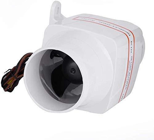Ejoyous Inline Gebläse Fan, 75 mm Abluftventilator, Weiß Rohrventilator, 12V Luftgebläse, Leiser Abluftventilator Schlauch Marine Gebläse Bilge Vent Fan Belüftung Boot Wohnmobil