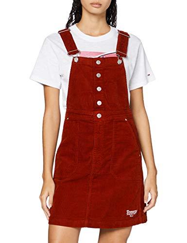 Tommy Jeans Damen Crossback Dungaree Dress Kleid, Weinrot, L