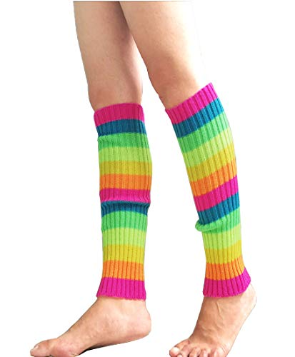 """CHUNG Women Juniors Knitted Leg Warmers 16"""" Neon Party Dance Sports Fitness Accessory Pack of 1/2/3 (One Size, Rainbow)"""