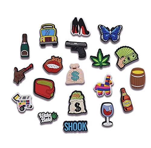 XHAOYEAHX Shoe charms clip 19pcs Unisex-Adutls Symbols Shoe Accessories Designer for Men Women's Favor