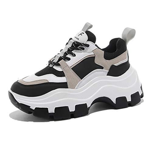 Dames Dikke Sneakers Mode Gemengde Kleur Ademend Mesh Vulcaniseer Schoenen Platform Dikke Zool Running Casual Trainers Zwart Wit