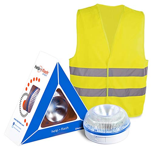 HELP FLASH SMART - luz emergencia AUTÓNOMA, señal v16 preseñalización peligro+linterna, homologada, DGT, base imantada, activación AUTOMÁTICA, hecho en España, y REGALO CHALECO reflectante HOMOLOGADO