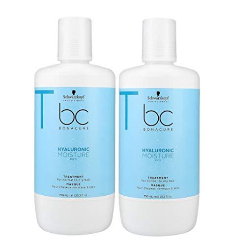 2er Hyaluronic Moisture Kick Treatment für normales trockenes Haar Bonacure Schwarzkopf Professional 750 ml