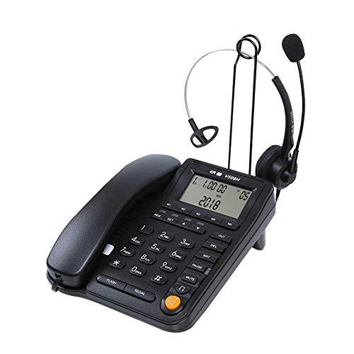 SHKUU TeléFono InaláMbrico Retro TeléFono Fijo TeléFono De Oficina Altavoz De La Casa (Operador/Servicio Al Cliente/Centro De Llamadas, Etc.) Negro