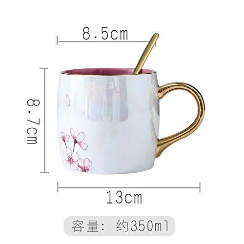 HRDZ Colorido Flamingo Pearl Glaze Taza de cerámica Taza de Agua Femenina Taza de café con Tapa Cuchara